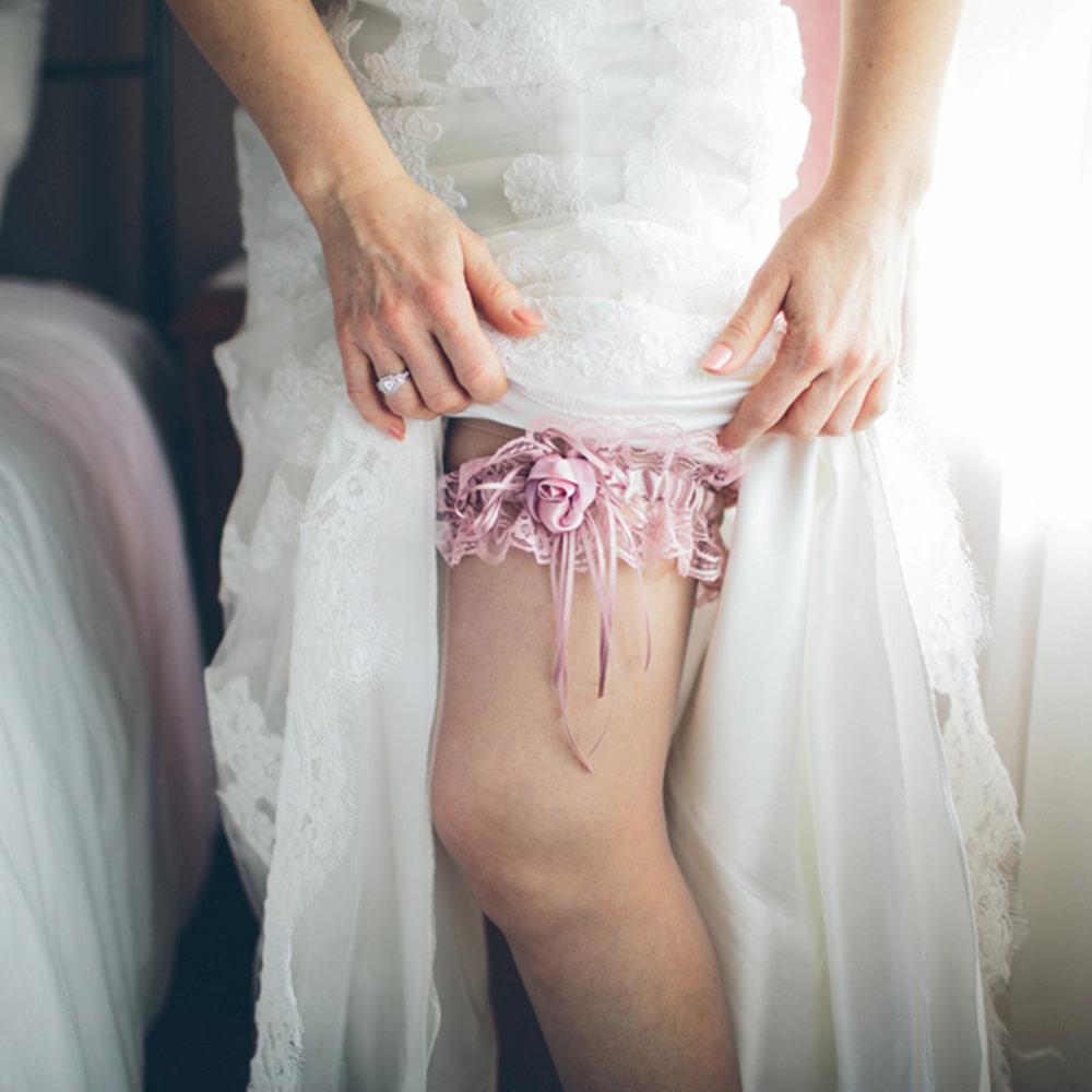 Vintage Pink Wedding Garter