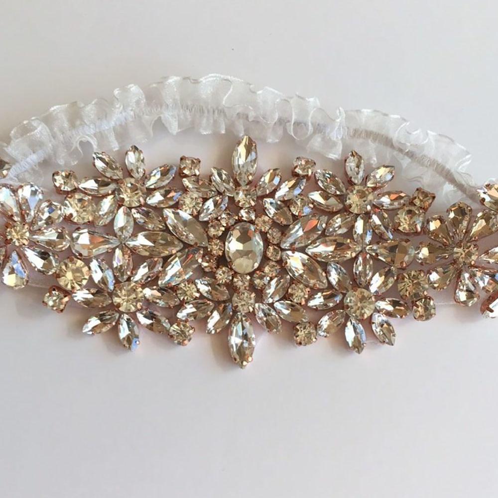 Organza Wedding Garter with amazing Rose Gold Rhinestone Setting