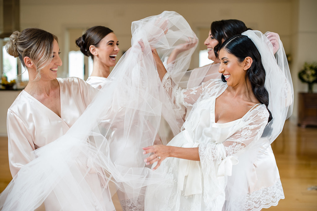 Bride and her Bridesmaids getting ready for Wedding