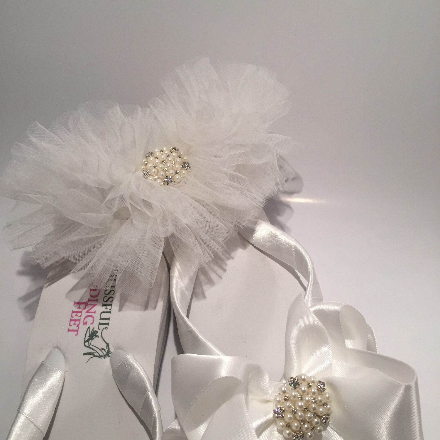 Tule Garter with matching Bridal Flip Flops
