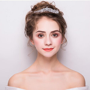 Petite, sparkling Wedding Tiara on Bride