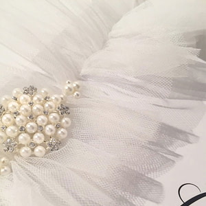Soft Tulle Wedding garter with pearl and rhinestone embellishment