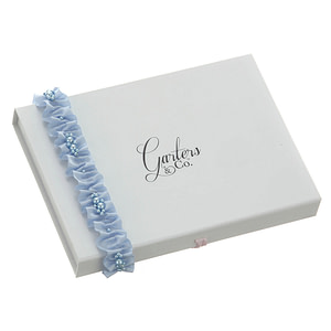 Blue garter with swarovski pearls