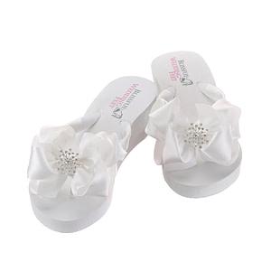 Starburst Rhinestone embellishment on Bridal Flip Flops bow