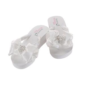 Rhinestone Hearts embellish Bridal Flip Flops