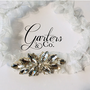 Rhinestones design on an organza Wedding Garter