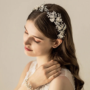 Handmade Bridal Crown with Pearls and Silver leaves