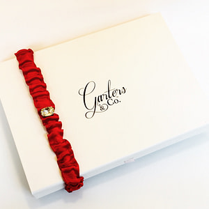 Red Bridal Garter with Crystal centre
