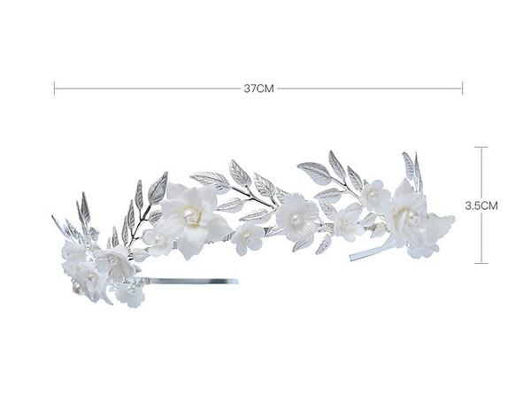Porcelain Flower and Leaf Wedding Crown measurements