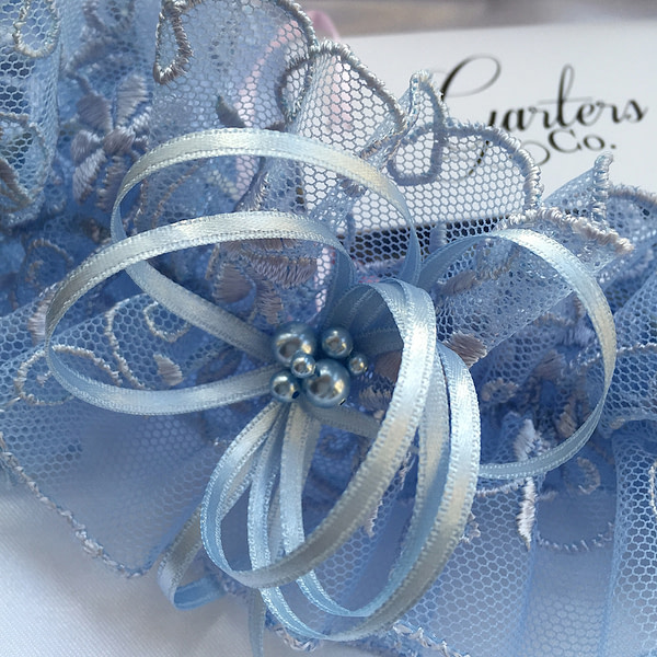 Soft Blue Tulle Lace Wedding Garter with Swarovski Pearls