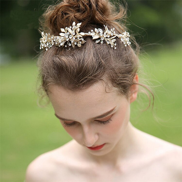 Rhinestone Wedding Crown with delicate gold leaves