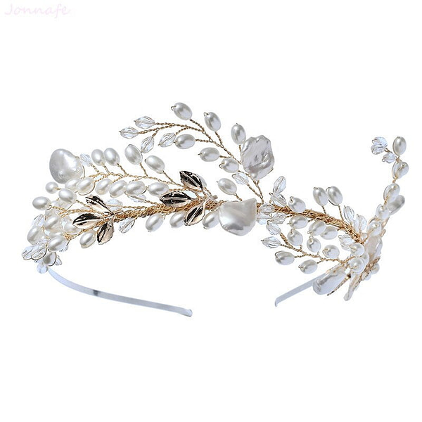 Pearl and gold leaf Bridal Crown