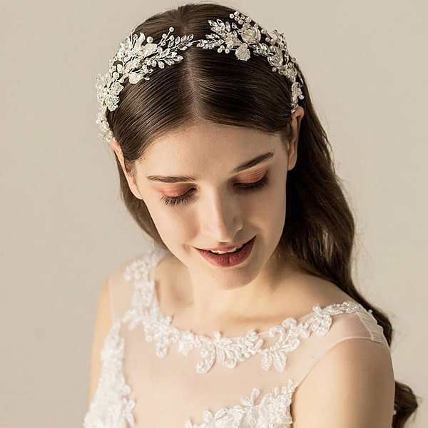 Silver leaves and pearls on handmade Wedding Crown