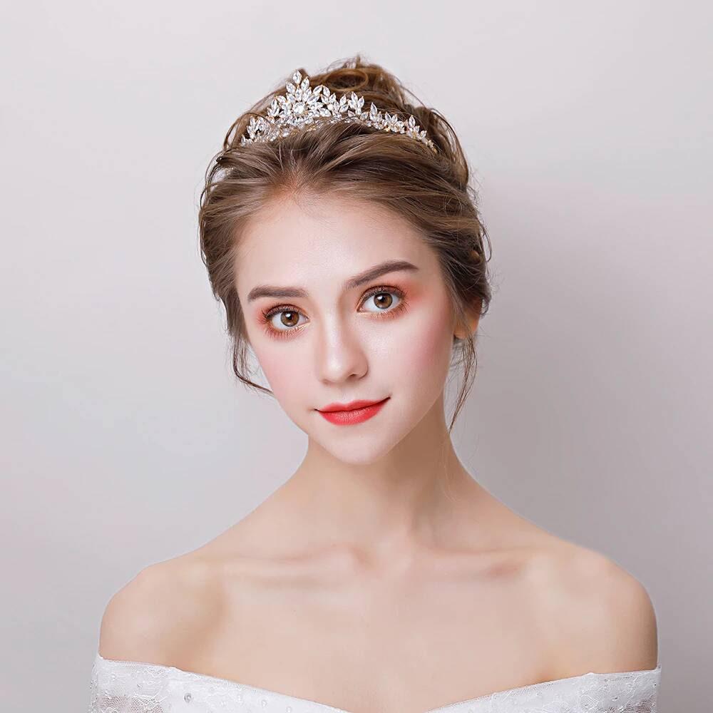 Bride wearing CZ Tiara