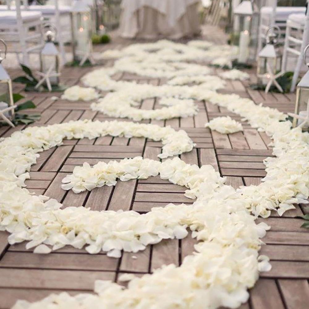 Rose Petals line a beautiful Wedding Aisle
