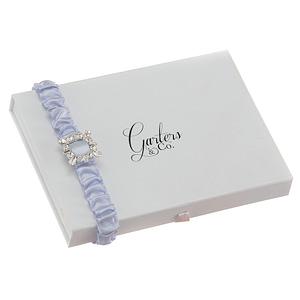 Sparkling retro rhinestone embellishment on satin blue garter