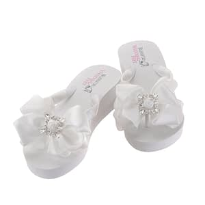 Bridal Flip Flops embellished with Square Retro Rhinestones on bow