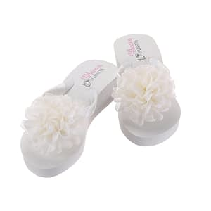 Bridal Flip Flops with large boutique chiffon roses