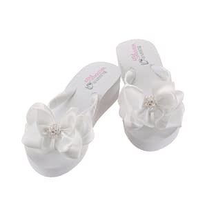 Round ball Rhinestone Embellishment on Bridal Flip Flops