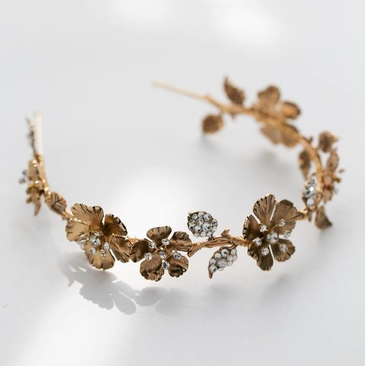 Gold metal Bridal Crown with Rhinestones