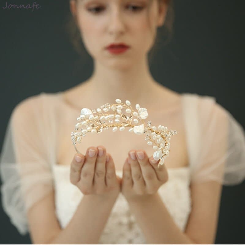 Delicate Pearl and gold leaf Bridal Crown