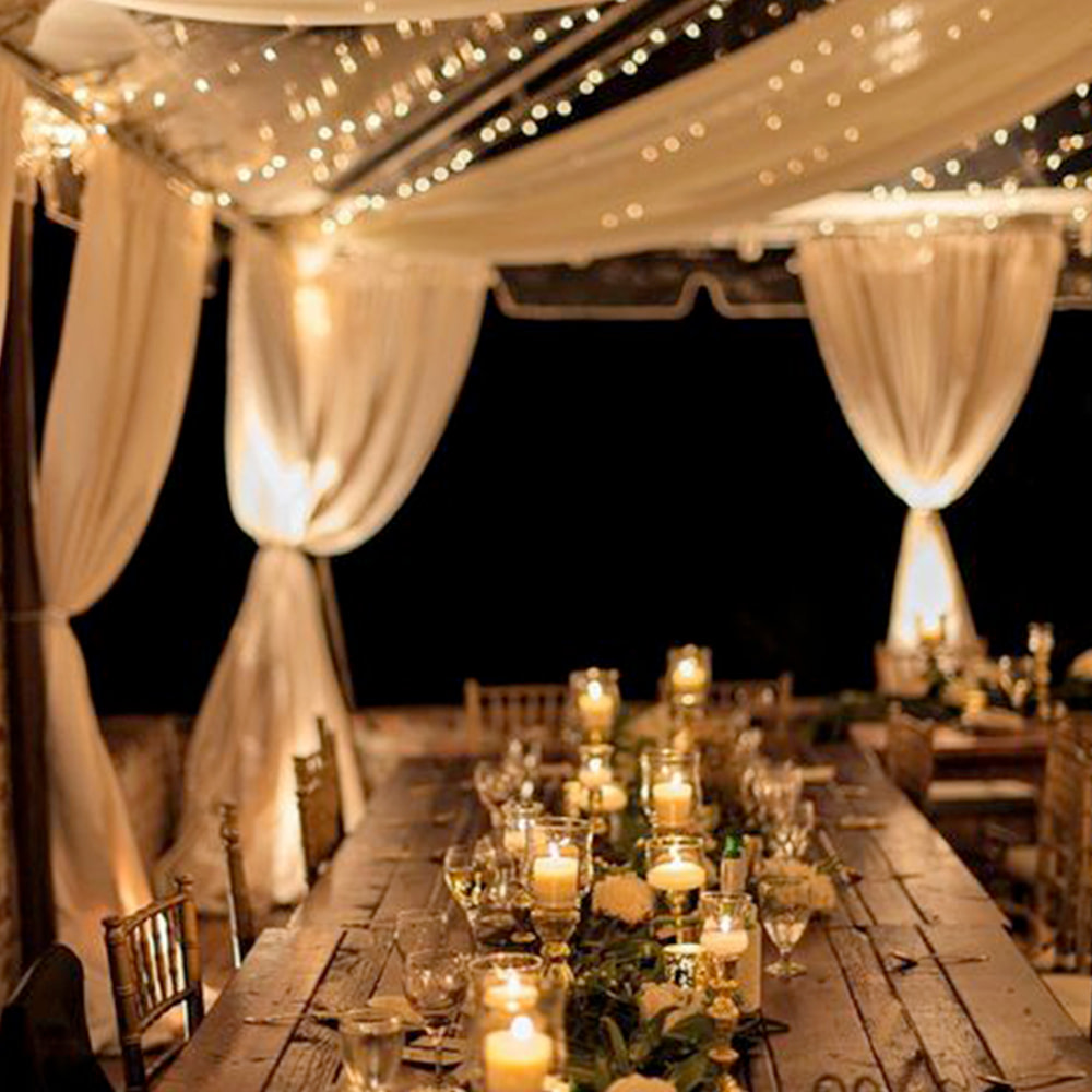 Outside Wedding with beautiful setting at night