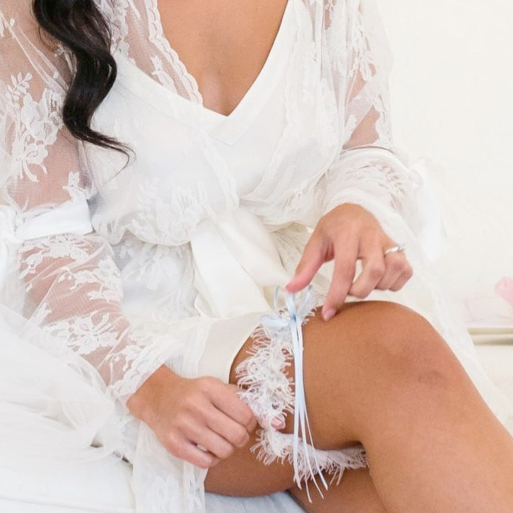 Bride wearing her Garter on Wedding Day