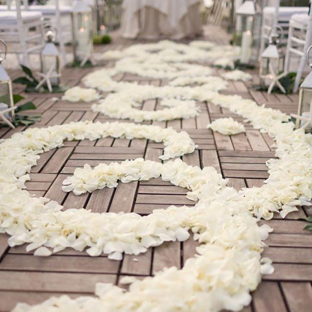 Rose Petals line a beautiful Wedding Aisle
