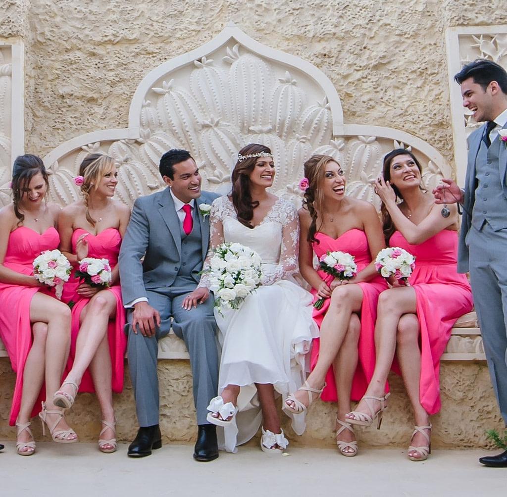Bride and Bridal Party having photos taken