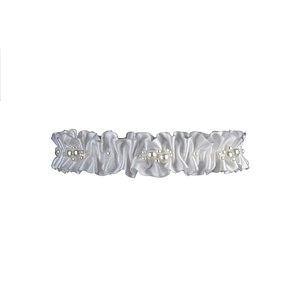 White Bridal Garter with Swarovski Pearl embellishments
