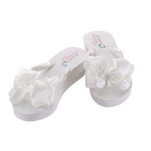 Beautiful Bridal Flip Flops with large satin bow