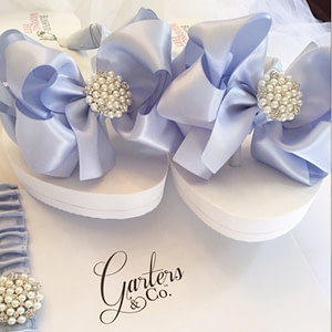 Bridal Flip Flops with Blue Bows and Pearls with Rhinestone embellishment