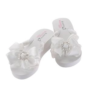 Bridal Flip Flops embellished with Square Retro Rhinestones on bow