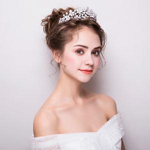 Bride wearing micro-paved cz crystal tiara