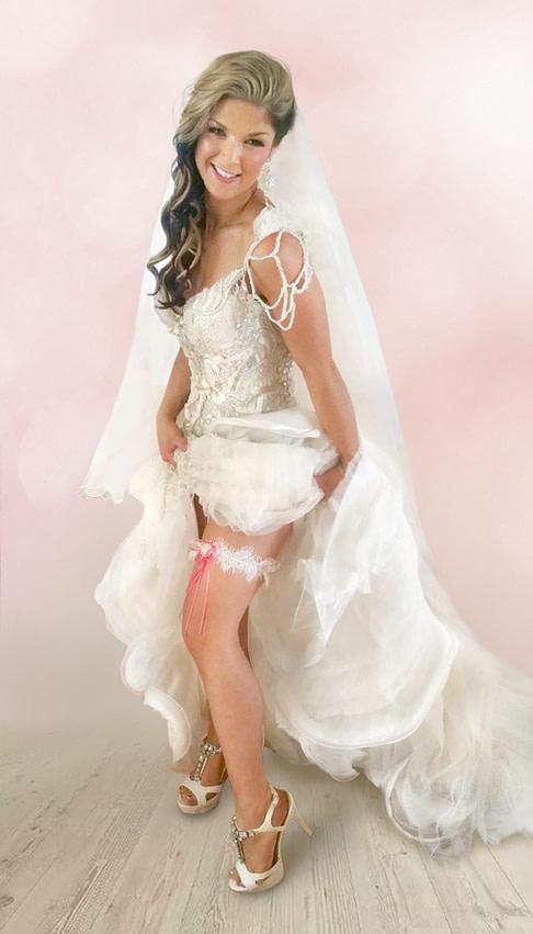 Katie wearing her Lace Wedding Garter