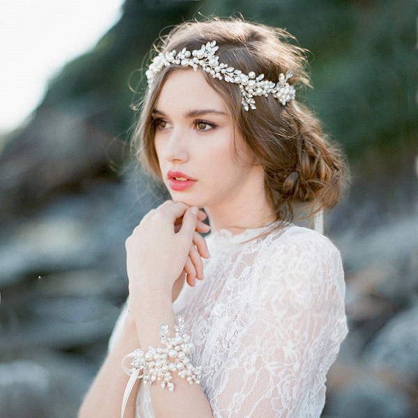 Bridal Hairvine made with soft pearls and rhinestones
