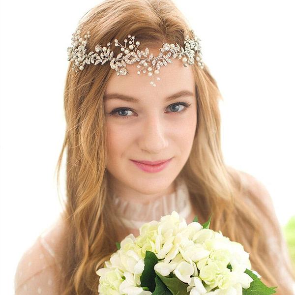 Rhinestones and Pearls set into Eva Bridal Headpiece