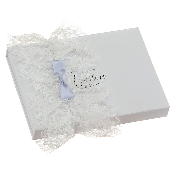 Beautiful Lace Bridal Garter with blue bow