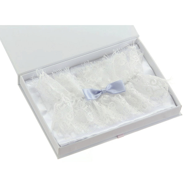 Lace garter with something blue bow
