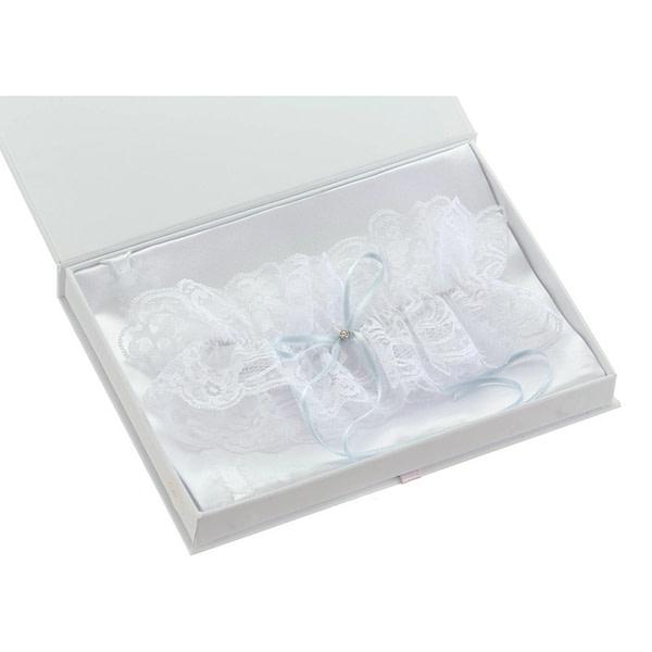 Something blue lace wedding garter with rhinestone