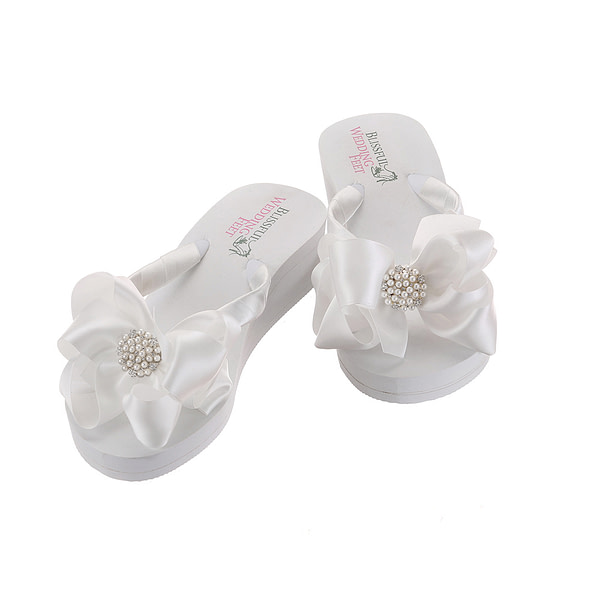 Bridal Flip Flops with pearls and rhinestone embellishment