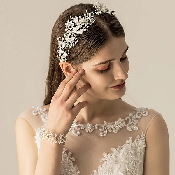 Bridal Crown with handmade silver leaves and pearls