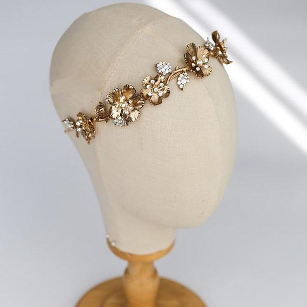 Pretty Gold metallic and rhinestone Bridal Crown