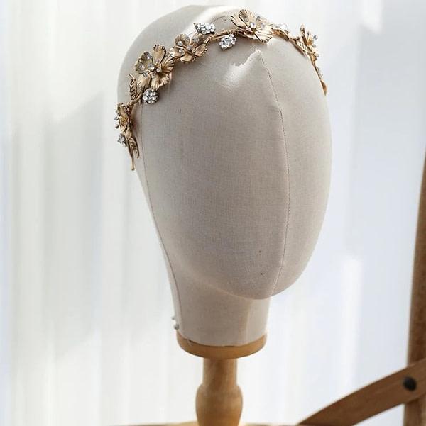 Vintage Bridal Crown in metallic gold and rhinestones