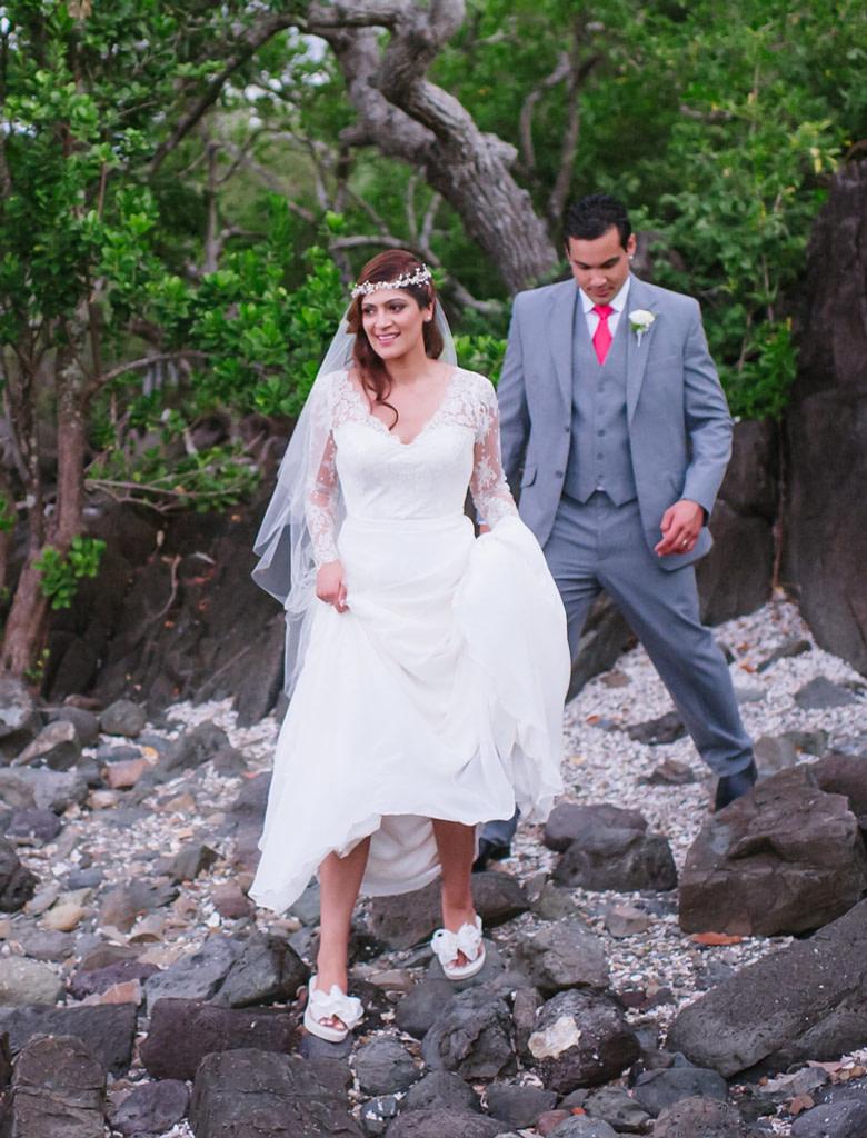 Bride wearing Bridal Flip Flops at the Beach