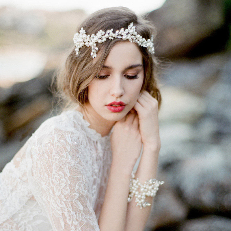 Bride Wearing a Pearl Bridal Headpiece